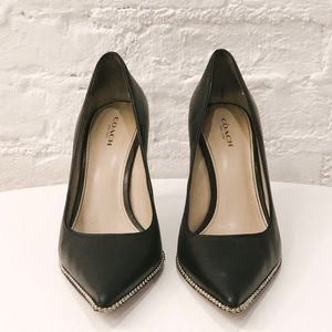Coach Smooth Leather Pumps w/ Chain Detail